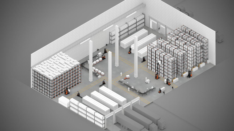 esquema de un almacén automatizado
