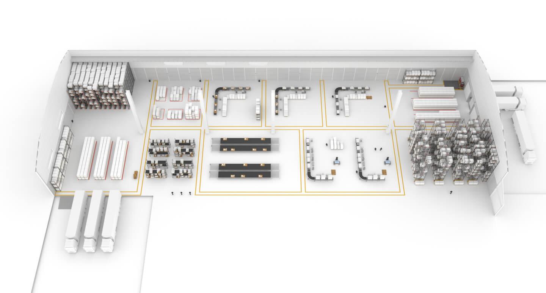 almacén con procesos lean automatizados
