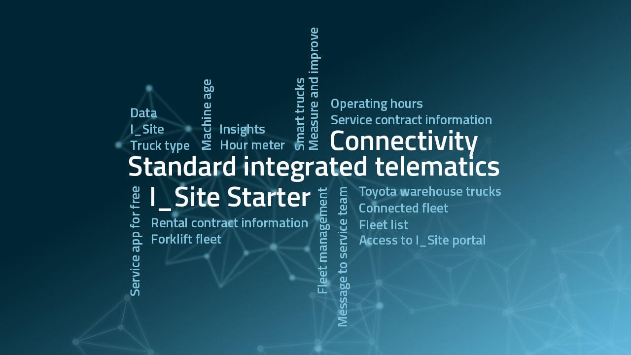 imagen abstracta sobre la conectividad y el sistema de gestión de flotas en carretillas