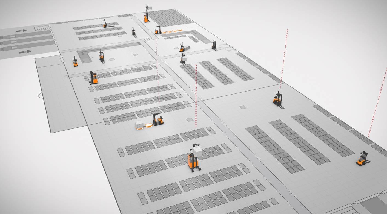 esquema automatización industrial con agvs