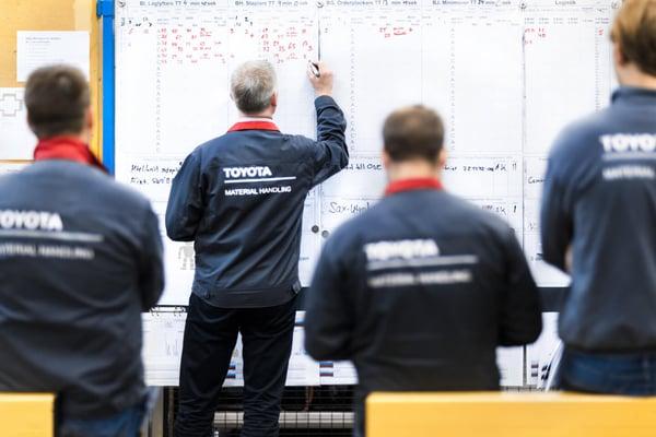 trabajadores de toyota material handling en una reunión de equipo según la cultura de la empresa