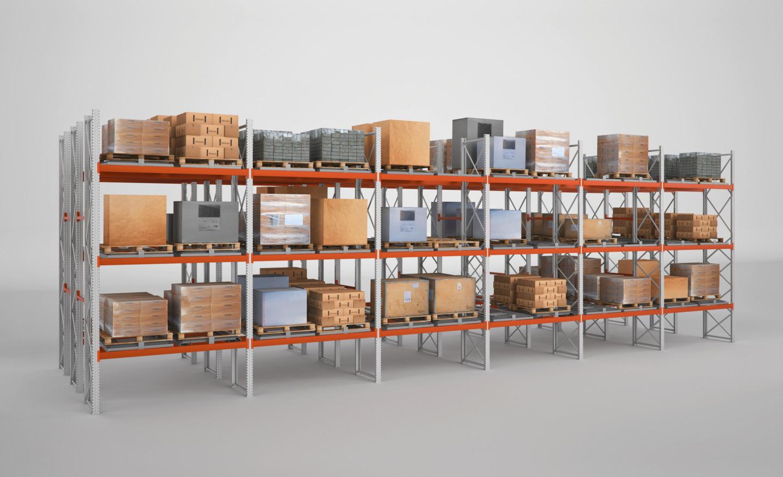 estanterías modulares en un almacén